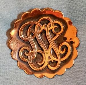 Vintage 1990s Copper Scroll Scalloped Edge Brooch